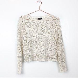 TopShop | Ivory Crochet Long Sleeve Top